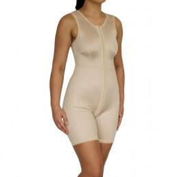 Female, Overall, mid thigh leg, Shoulder, Normal support, Hook + eye, Open crotch